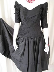 1950's Ruched 'off the shoulder' black vintage evening dress **SOLD**